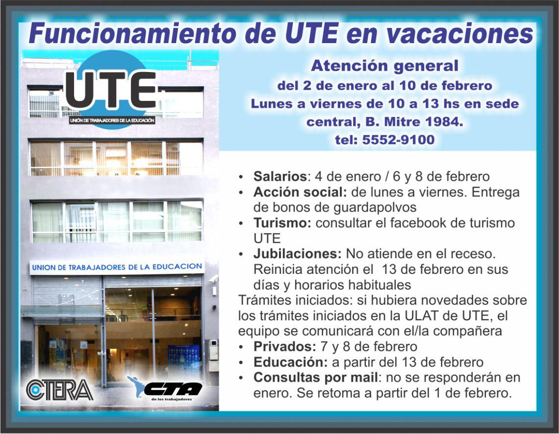Funcionamiento de UTE durante las vacaciones