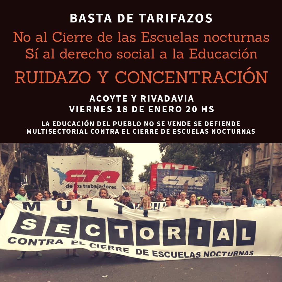 Multisectorial contra el cierre de escuelas nocturnas