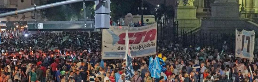 La UTE presente en la Marcha de las Velas contra el tarifazo
