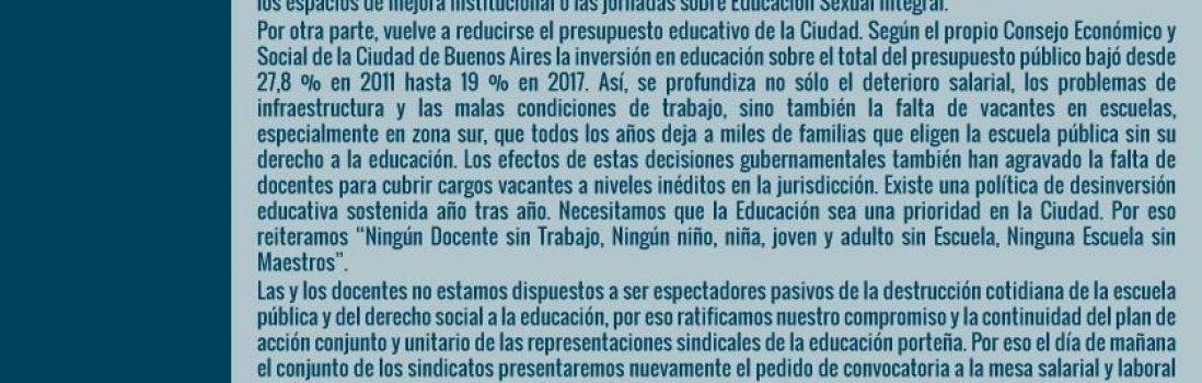 Sindicatos docentes de la Ciudad pidieron formalmente reactivar la mesa salarial