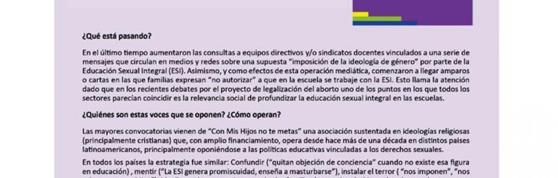 Educación Sexual Integral y la comunidad educativa:  Carta a docentes ante cuestionamientos hacia la ESI en las Escuelas