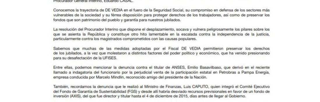 Solicitada por la restitución del Fiscal Gabriel Vedia