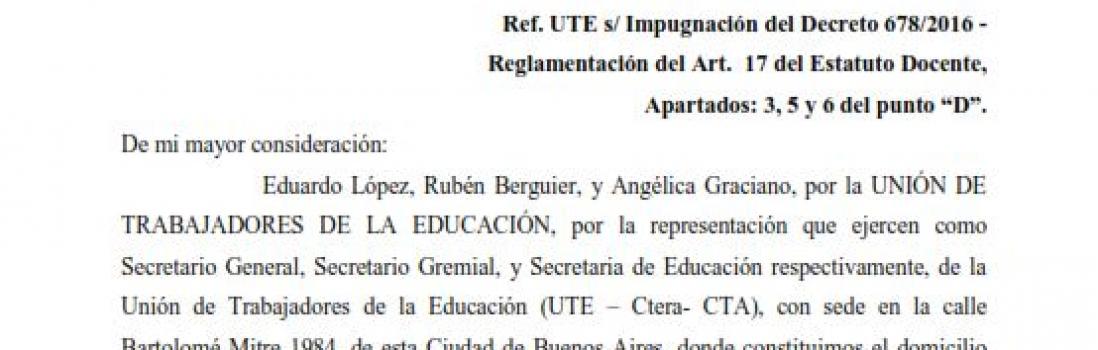 La UTE presentó recurso administrativo contra la modificación del Artículo 17