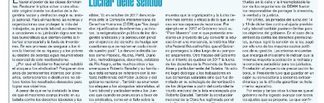 Nota de opinión de Eduardo López en Pagina 12